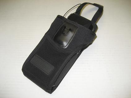 Motorola MC3000 series holster is ideal to carry around the MC55 - front view with V strap open - click to enlarge