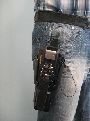 Motorola MC9500 in Rigid Holster being worn