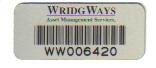 44mm x 19mm Aluminium Asset Label with permanent adhesive