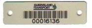 57mm x 16mm Aluminium Asset Label with permanent adhesive & rivet holes