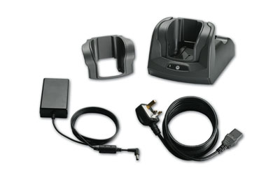 The cradle kit comes with a single slot cradle, power supply, power cable and USB interface cable