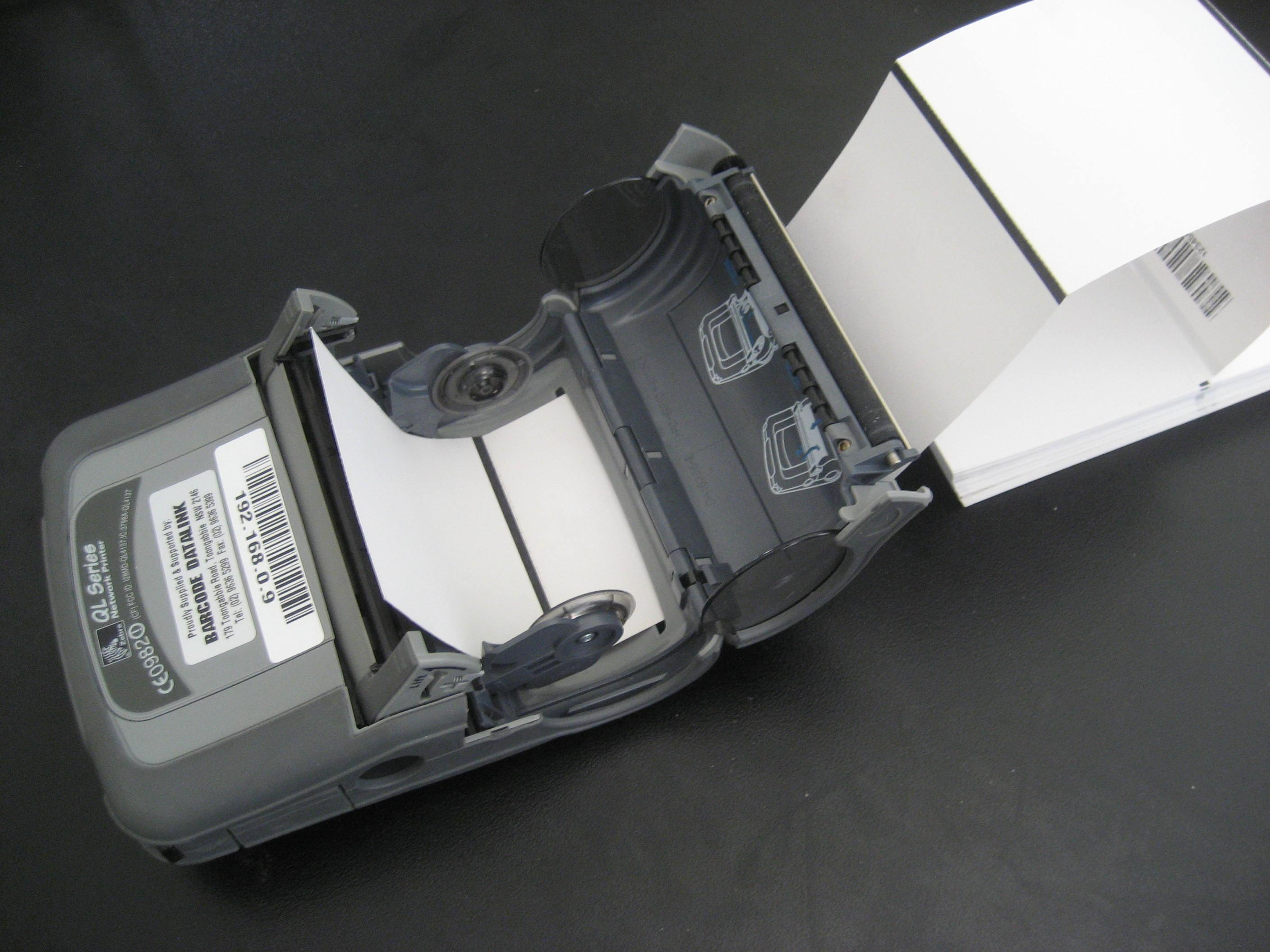 Fanfold direct thermal tag stock is ideal for mobile printer - QL420 printer pictured