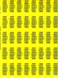 Click to see larger image - yellow plastic asset labels 55mm x 25mm on an A4 sheet. Code 39 barcode