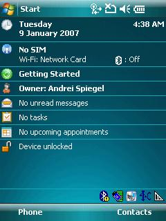Motorola MC55 Windows Mobile 6.1 main screen