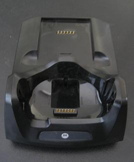 The MC55 single slot cradle (front view) with a spare battery slot at the rear