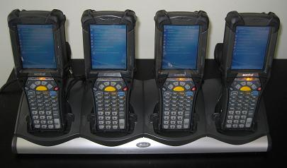 Motorola MC9090's charging in a 4 slot cradle