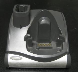 Motorola MC9000 series single slot cradle. Charges a spare battery in the slot on the left