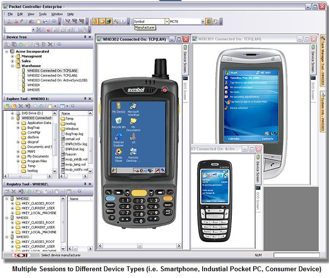Click here to enlarge the picture of Soti Pocket Controller Pro main screen