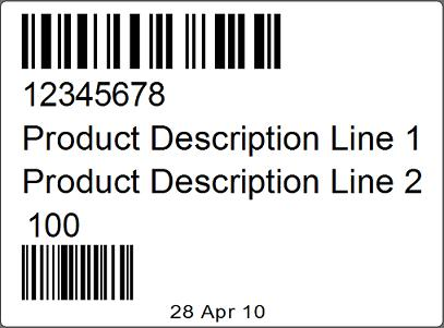 100mm x 75mm label printed via CPCL on a Zebra mobile printer